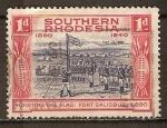 Sellos del Mundo : Africa : Zimbabwe : La bandera,y el Fuerte de Salisbury, 1890