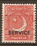 Sellos del Mundo : Asia : Pakistán : Estrella y la Media Luna, en 1948, pero con la luna creciente que apunta a la izquierda.