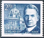 Sellos de Europa - Suecia -  LAUREADOS CON EL PREMIO NOBEL EN 1921. FREDERICK SODDY, QUÍMICA. Y&T Nº 1157