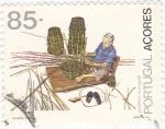 Sellos de Europa - Portugal -  Açores-artesania cestero