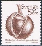 Sellos del Mundo : Europa : Suecia :  SERIE BÁSICA. FRUTOS. CASTAÑA (AESCULUS HIPPOCASTANUM) Y&T Nº 1207. RESERVADO