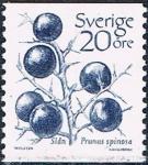 Sellos del Mundo : Europa : Suecia :  SERIE BÁSICA. FRUTOS. ENDRINO (PRUNUS ESPINOSA Y&T Nº 1210. RESERVADO