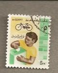 Stamps Egypt -  Niño con bici
