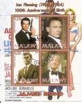 Stamps : Africa : Malawi :  007 Aniversario de Ian Fleming