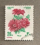 Stamps Egypt -  Flores rojas