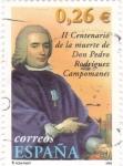 Stamps Spain -  II centenario de la muerte de don pedro rodriguez campomanes