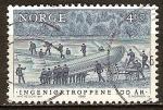 Sellos del Mundo : Europa : Noruega : Centenario del Cuerpo de Ingenieros.Haciendo puente de pontones.