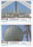 Sellos de Europa - España -  EXPO 92 - puerta barqueta y esfera bioclimática