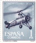 Sellos de Europa - España -  cincuentenario de la aviación española- autogiro de la cierva