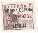 Sellos de Europa - España -  el Cid- ARRIBA ESPAÑA 3-IV-1938  LERIDA