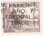 Stamps : Europe : Spain :  el Cid-  PRIMER AÑO TRIUNFAL CANARIAS  18-VII-1937