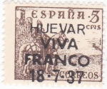Stamps Europe - Spain -  el Cid- HUEVAR VIVA FRANCO 18-7-37