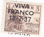 Stamps Spain -  el Cid- VIVA FRANCO 18-7-37