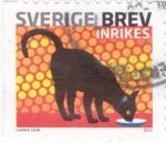 Sellos de Europa - Suecia -  gato negro