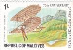 Sellos de Asia - Maldivas -  75 aniversario de vuelo motorizado con aereoplano
