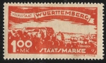 Stamps Germany -  German States-Wurttemberg-View of Tobingen