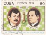 Stamps Cuba -  campeonato del mundo 1921 -lasker-capablanca