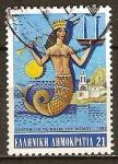 Sellos del Mundo : Europa : Grecia : Sirena (Historia de Islas del Mar Egeo de Exposiciones).
