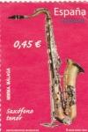 Sellos de Europa - España -  instrumentos musicales- saxófono