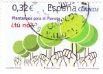 Sellos de Europa - España -  valores cívicos-plantemos para el planeta ¿tú no?