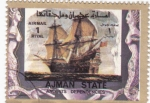 Sellos de Asia - Emiratos Árabes Unidos -  barcos- carabelas