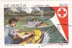 Sellos de America - Nicaragua -  servicio a la humanidad- huracán alleta 1982