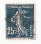 Stamps : Europe : France :  Sello: sembradora 15 cts azul