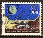 Sellos de Europa - Alemania -  Luna 9 - primer aterrizaje suave en la Luna 03/02/1966-DDR.