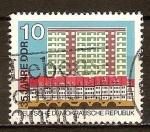 Sellos de Europa - Alemania -  35. Años de la DDR,Casas urbanas y grandes bloques de edificio de nueva construcción.