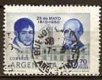 Sellos del Mundo : America : Argentina : 153a Aniv de la Revolución de Mayo. Larrea y Matheu.