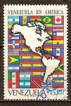 Sellos del Mundo : America : Venezuela : Venezuela en el continente americano. Mapa de las Américas.