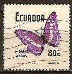 Sellos del Mundo : America : Ecuador : Mariposa-Morpho cypris.