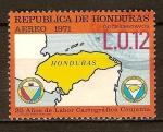Sellos del Mundo : America : Honduras : 25a.de labor cartografíca conjunta.