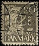 Stamps Denmark -  Barco velas blancas fondo pleno 1927 a 1930. 20 ores