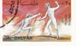 Stamps Oman -  munich-72- esgrima  DHUFAR
