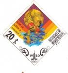 Sellos de Asia - Mongolia -  J.J.O.O. - MOSCÚ-80  -  Natación