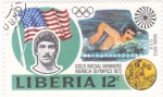 Stamps Liberia -  J.J.O.O. - MUNICH- 72   -Mark Spitz -Usa.