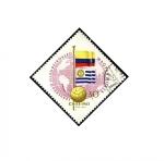 Stamps Hungary -  Mundial futbol Chile 1962 banderas de Colombia y Uruguay.