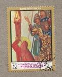 Sellos de Asia - Emiratos Árabes Unidos -  Virgen a los pies de la cruz