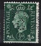 Sellos del Mundo : Europa : Reino_Unido : Jorge VI  , sello taladrado con  F J C