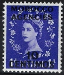 Stamps : Europe : United_Kingdom :  Isabel II,  colonias, ( Marruecos )