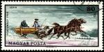 Stamps Hungary -  Pradera natural Hortobágy. Trineo grande de dos caballos. 1968.