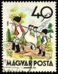 Sellos de Europa - Hungría -  Fábulas (2da.serie)  El molinero, su  hijo y el asno. 1960.