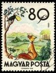 Sellos del Mundo : Europa : Hungría : Fábulas (2da.serie) El cuervo y la zorra 1960.