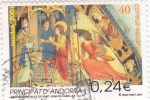 Stamps Andorra -  angel del retable de sant Joan de Caselles NADAL-2001