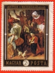 Stamps : Europe : Hungary :  Jan Steen: a Macskacsalad