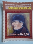 Sellos de America - Venezuela -  Bic. Independencia Rep. Bolivariana de V/zuela.Firmante del Acta:Juan A.Diaz Argote