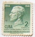 Sellos de America - Cuba -  RETIRO DE COMUNICACIONES MOYOR GENERALMARIO G MENOCAL