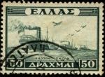 Stamps Greece -  Serie de la victoria. Convoy en el mar. 1947.