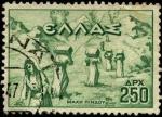 Stamps Greece -  Serie de la victoria. Traslado de municiones a través del Pindus. 1947.